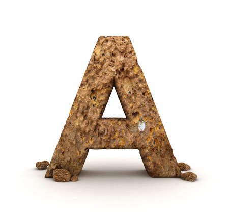 3D Letter of Stone Alphabet Isolated  Stock Photo - 11972596