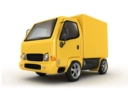 cargo truck: 3D Yellow Van isolated  Stock Photo