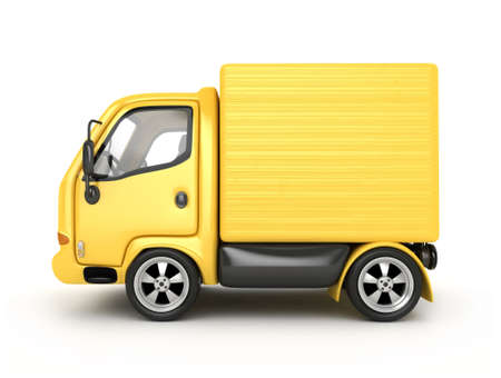fast shipping: 3D Yellow Van isolated  Stock Photo