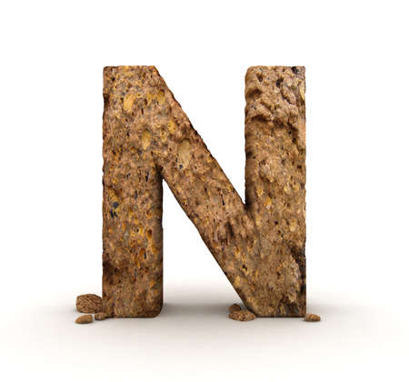 3D Letter of Stone Alphabet Isolated