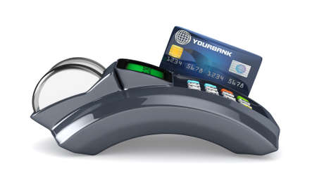 swipe: 3D POS-terminal with credit card isolated  Stock Photo