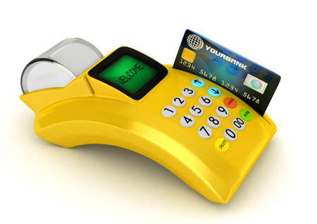 3D Yellow POS-terminal with credit card  photo
