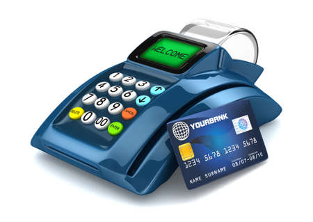 3D Blue POS-Terminal with Credit Card  photo