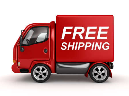 delivering: 3D Red Van with Free Shipping text isolated