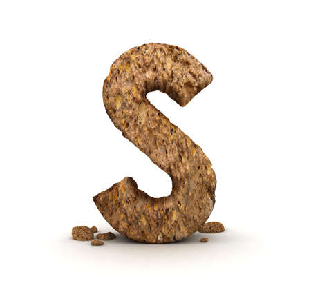 3D Letter of Stone Alphabet Isolated   Stock Photo