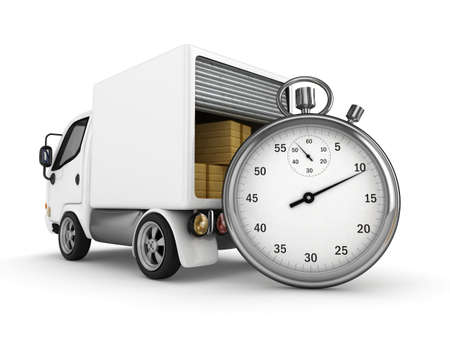 mail truck: 3D White Van with Stopwatch and cardboard boxes - isolated