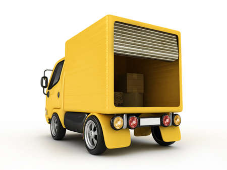 mail truck: 3D Yellow Van isolated  Stock Photo
