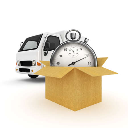 shipping container: 3D White Van with Stopwatch and cardboard boxes - isolated