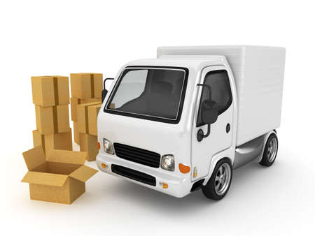 mail truck: 3D White Van with cardboard boxes isolated  Stock Photo