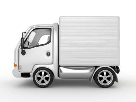 delivery truck: 3D White Van with cardboard boxes isolated  Stock Photo