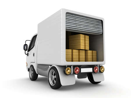 3D White Van with cardboard boxes isolated  Stock Photo - 11979904