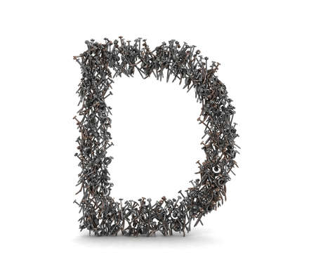 3D Nail and Bolts Letter Alphabet - isolated  photo