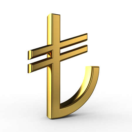 3d turkey: 3d Gold TL symbol(Turkish Liras)isolated