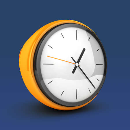 alarmclock: yellow clock 3d blue isolated
