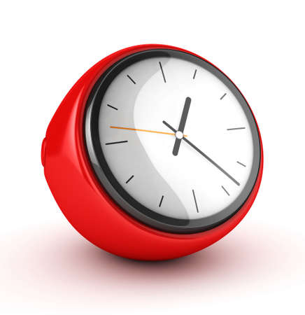 alarmclock: red clock 3d isolated Stock Photo