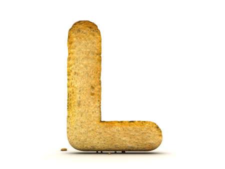 Toast Alphabet 3d isolated Stock Photo