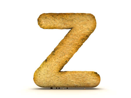 orthographic: Toast Alphabet 3d isolated Stock Photo