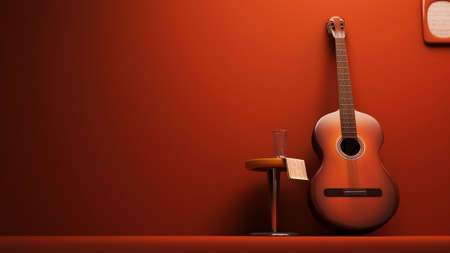3D Classic Guitar on the wall interior- isolated Stock Photo - 16889081