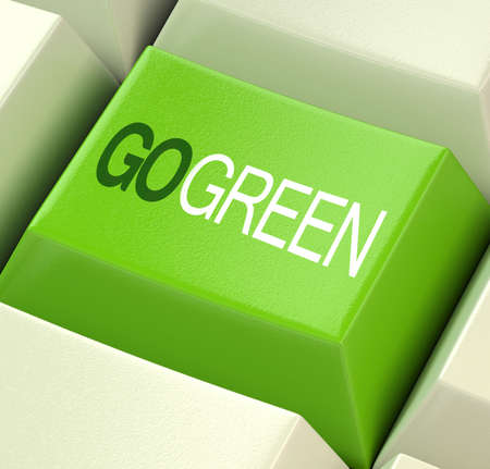 save earth: Go Green Computer Key Showing Recycling And Eco Friendliness