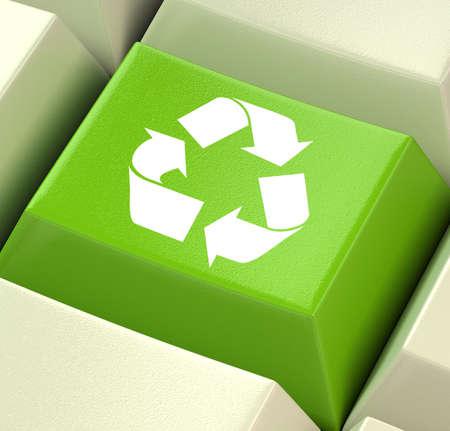 amabilidad: Tecla de ordenador verde Mostrando Reciclaje y amistad Eco