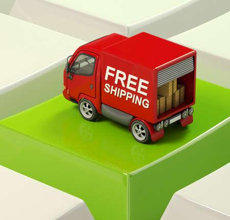 free shipping truck on a keyboard key Stock Photo