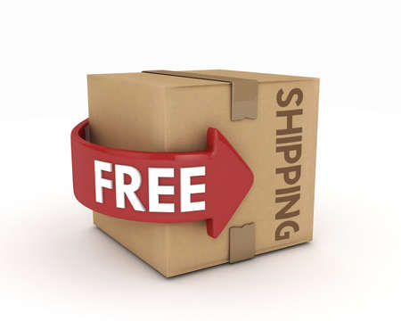 ship sign: free shipping cardboard