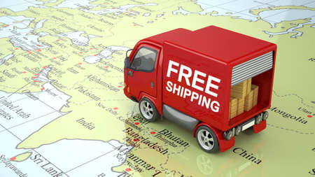 3D Red Delivery Truck on World Map isolated Imagens