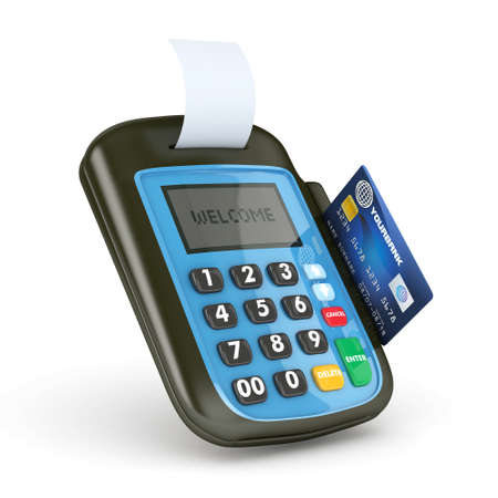 overdraft: 3D POS-terminal with Credit Card - isolated Stock Photo