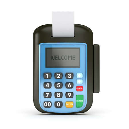 cash receipt: 3D POS-terminal with Credit Card - isolated Stock Photo