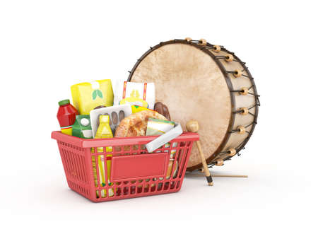 iftar: 3d shopping basket and ramadan drum - isolated Stock Photo