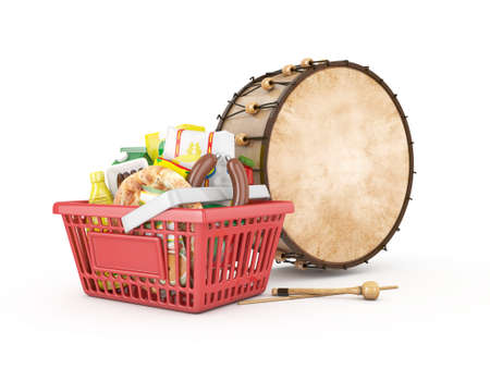 3d shopping basket and ramadan drum - isolated Stock Photo
