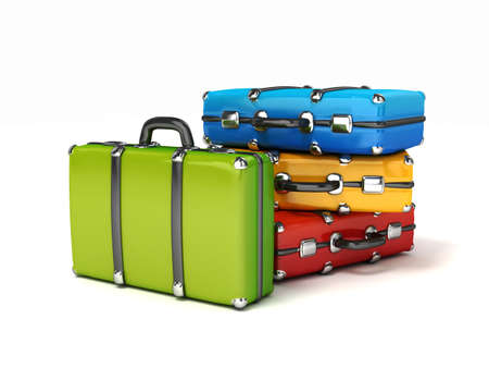 3d kleurrijke koffers isrolated Stockfoto