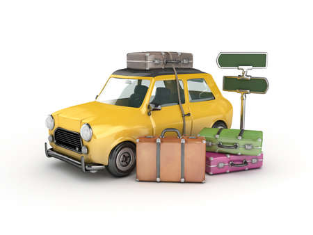 packing suitcase: 3d Yellow car and suitcases -travel concept