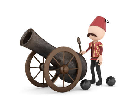 3d human with ramadan cannon -isolated Stock Photo