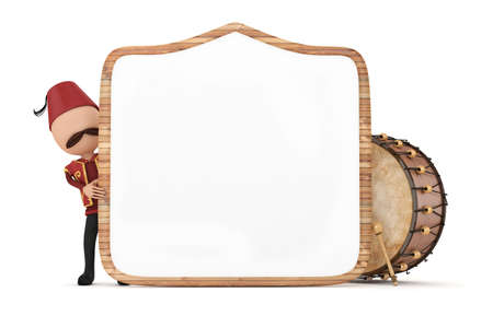 3d ramadan drummer with wooden frame and drum photo