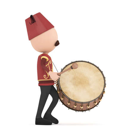 3D Traditional Ramadan Drummer isolated photo