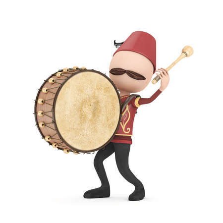 3D Traditional Ramadan Drummer isolated Stock Photo