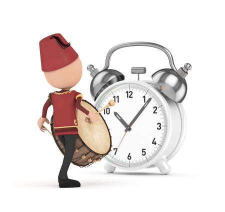 3D Traditional Ramadan Drummer and white clock photo