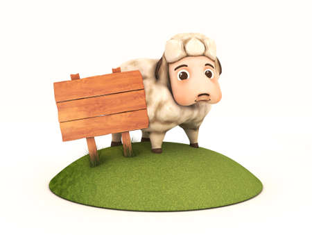 3d sheep with wooden frame Stock Photo - 23316917