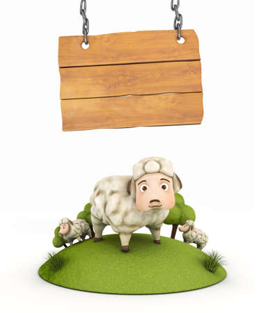 3d sheep with wooden frame photo