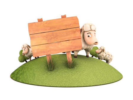 3d sheep with wooden frame Stock Photo - 23335423