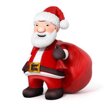 pere noel: 3D Cartoon Père Noël avec sac