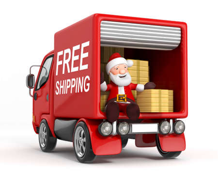christmas concept: 3d cartoon santa claus in truck with cardboard box