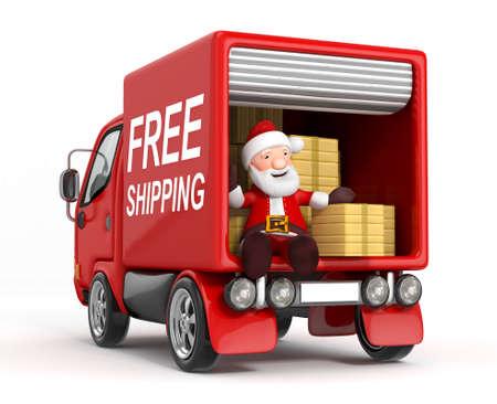 cajas navide�as: Dibujos animados en 3D de Pap� Noel en cami�n con caja de cart�n Foto de archivo
