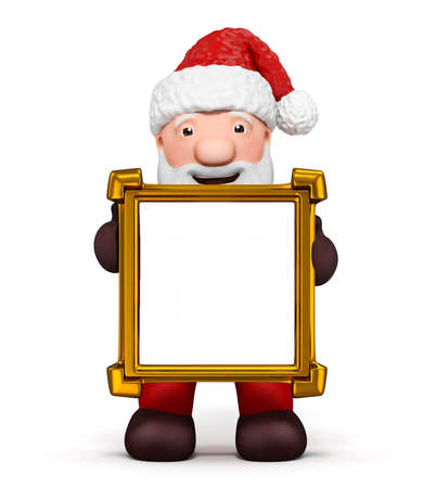 Santa claus with a blank golden frame photo