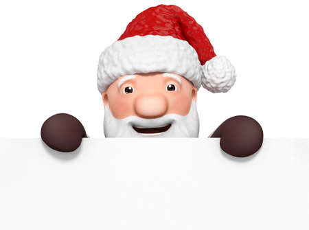 carrying out: 3d cartoon santa claus with blank paper - isolated Stock Photo