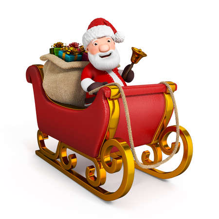 3d cartoon santa claus in sleigh with sack Stock Photo