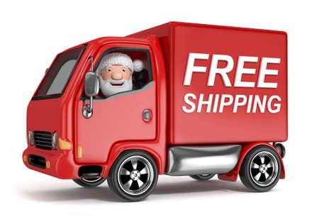 3D-cartoon santa claus in de vrije scheepvaart truck - geïsoleerd Stockfoto