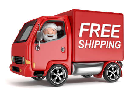 delivery guy: 3d cartoon santa claus in free shipping truck - isolated