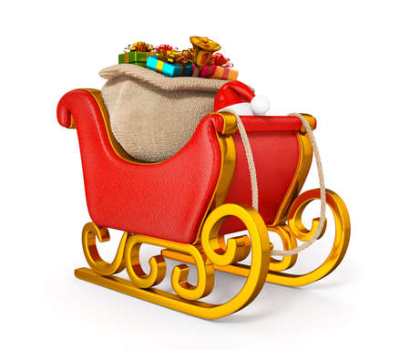 3d santa claus sleigh with gift sack isolated photo